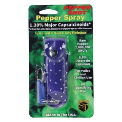 Pepper Shot 1.2% MC 1/2 Oz Rhinestone Leatherette Holster and Quick Release Keychain