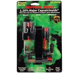 Pepper Shot 1.2% MC Tri-pack Pepper Spray Combo