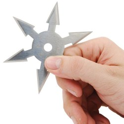 Four Inch Stainless Steel 6 Point Single Piece Throwing Star