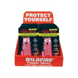 12 Wildfire 1/2Oz Leatherette Pepper Spray?Pink with Counter Display
