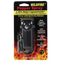 Wildfire 1.4% MC 1/2 Oz Pepper Spray with Leatherette Holster and Quick Release Keychain